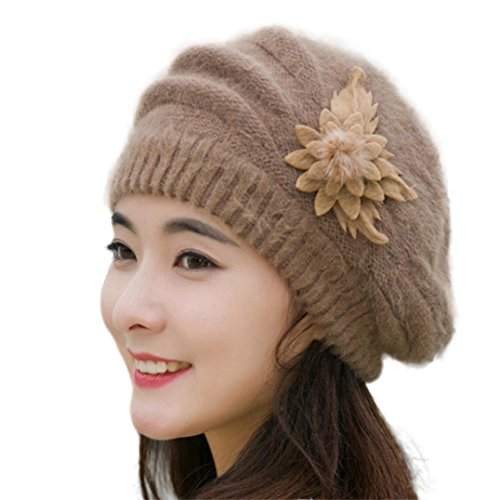 Winter Hat, ღ Ninasill ღ Flower Knit Crochet Beanie Hat Winter Warm Cap Beret (Khaki)
