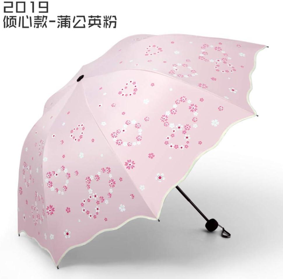 Dandelion Powder Umbrella Windproof Folding Black Plastic Sunshade Female Student Rain And Rain Dual-Use Sunscreen Anti-Uv Sun Umbrella@Devotion