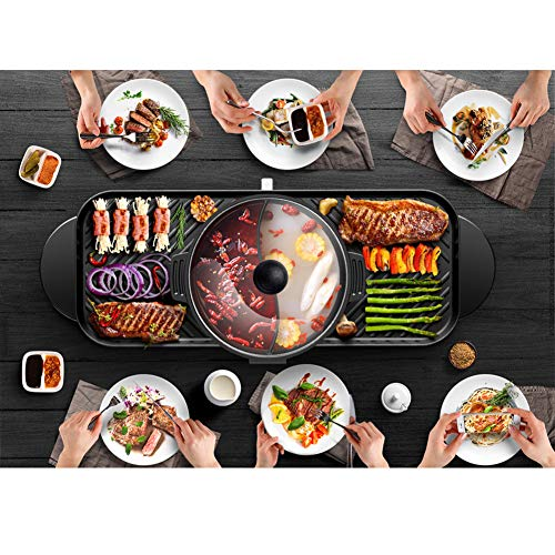 JINPENGRAN Home Smokeless Barbecue Electric Oven, Barbecue Electric Hot Pot One Pot, Large Electric Baking Pan, Can Be Grilled, Fried, Boiled, Braised,Large Capacity by JINPENGRAN (Image #2)