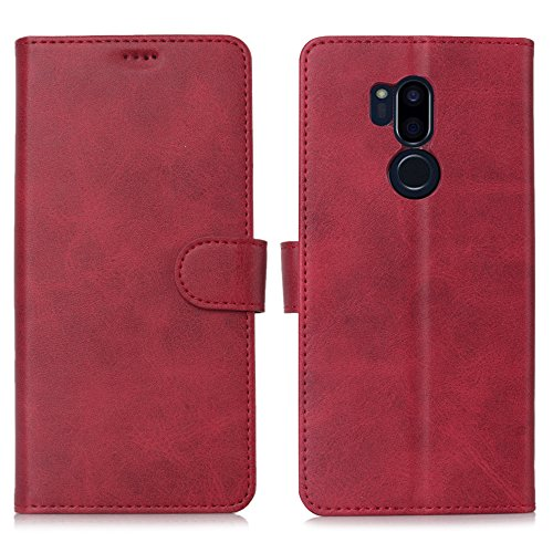 LG G7 Case/LG G7 ThinQ Case, Cress [Slim Fit] [Stand Feature] Flip Leather Wallet Case With Card Slot Magnetic Closure Bumper TPU For LG G7 (Red) by Cresee