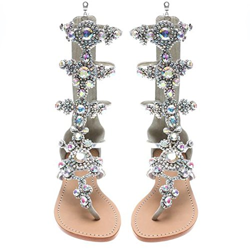 azmodo 2017 Crystal Roman Sandals Silver Color Plus Size Available G90 (US 8.5/EU 39/UK 6.5/CN (Glitter Gladiator Sandals)