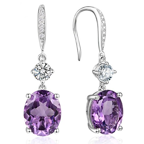 925 Silver Oval Amethyst Drop Hook Dangle Earrings CZ Halo Earrings for (Amethyst February Earrings Jewelry)