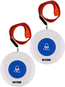 Wireless Caregiver Pager Softly Sound Alert System Nurse Call Help Buttons for Elderly Patient at Home 2Buttons