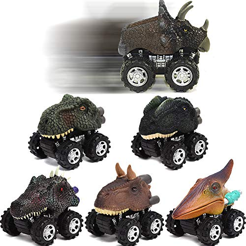 Angusiasm Pull Back Dinosaur Cars-6PC Children's Day Gift Toy Dinosaur Model Mini Toy Car Back of The Car Gift