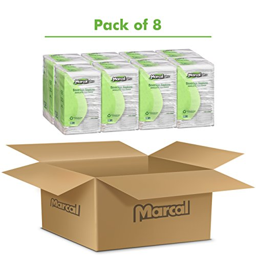 Marcal PRO 28CT 100% Recycled Beverage Napkins, 1-Ply, 9 3/4 X 9 1/2, White (Case of 4,000) by Marcal (Image #2)