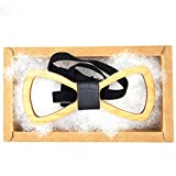 KOOWI Creative Handcrafted Men's Wooden Bow Tie Handmade Wood Necktie for Wedding or Daily Wear (Pack of 1)