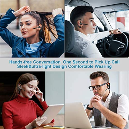 Bluetooth Headset V5.0 Wireless Bluetooth Earpiece, 16 Hrs HD Talktime CVC8.0 Noise Reduction Handsfree Headset with Microphone for iPhone/Android/Samsung/Laptop - Black