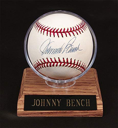 - Johnny Bench Autographed Signed Rawlings MLB Baseball with Mounted Memories Coa - Certified Signature