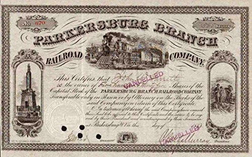 1877 VERY RARE PARKERSBURG BRANCH RAILROAD STOCK CERTIFICATE w 3 VIGNETTES! FULLY ISSUED! OUR GLOBAL EXCLUSIVE! AVAIL w ORLAND SMITH AUTOGRAPH! Share Amount Varies About Extra ()