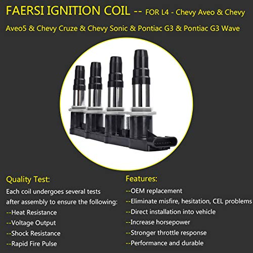 FAERSI Ignition Coil Pack of 1 Replace OE# 25186687, C1646, UF620 for  2009-2011 Chevy Aveo Aveo5 1 6L, 2011-2015 Chevy Cruze 1 8L, 2012-2018  Chevy