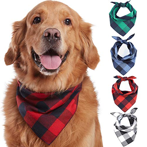 (Odi Style Buffalo Plaid Dog Bandana 4 Pack - Cotton Bandanas Handkerchiefs Scarfs Triangle Bibs Accessories for Small Medium Large Dogs Puppies Pets, Black and White, Red, Green, Blue and Navy Blue)