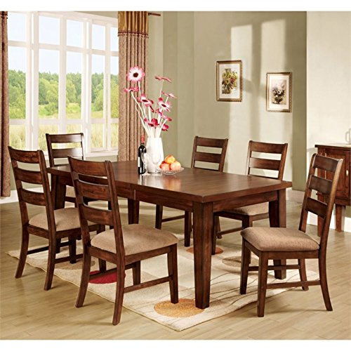 Furniture of America Braddy 7 Piece Removable Leaf Dining Set