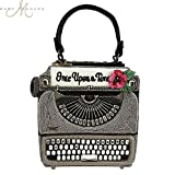 MARY FRANCES Just My Type Typewriter Beaded Top-Handle Handbag