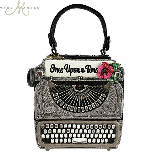 MARY FRANCES Just My Type Typewriter Beaded Top-Handle Handbag by Mary Frances