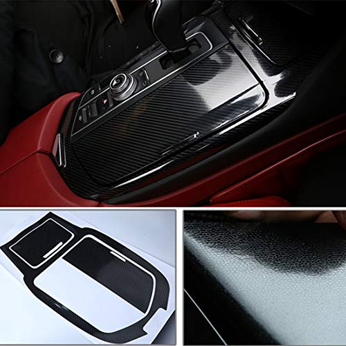 YOCTM for Maserati Levante 2016 2017 2018 Stickers Black 5D Carbon Fiber Look Center Console Gear Shift Panel Cover Stickers Dashboard Inner Door Trims (Pack of -