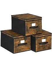 SONGMICS Składane pudełka do przechowywania, 3-częściowy organizer na ubrania, kosze na zabawki, kostki do przechowywania z pokrywką, uchwyty na metki, tkaniny z włókniny, 40 x 25 x 30 cm, rustykalny brąz i czarny RFB103B01