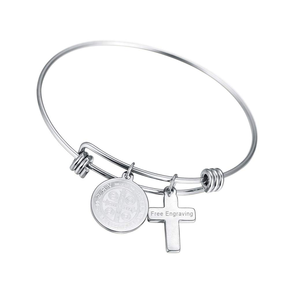 FaithHeart Custom Engraved Saint Benedict Bangle Stainless Steel St Benedict of Nursia Cross Charms Bracelet (Silver)