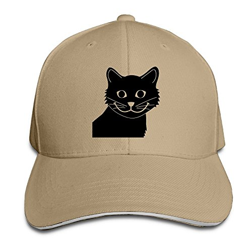 Cowgirl Costume Australia (Creative Cute Cat Black Fashion Design Unisex Cotton Sandwich Peaked Cap Adjustable Baseball Caps Hats Natural)