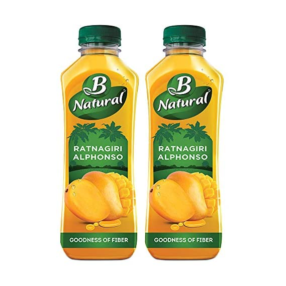 B Natural Ratnagiri Alphonso, Mango Juice 750ml (Pack of 2)