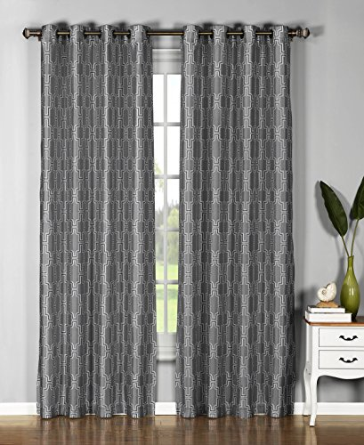 Window Elements  Wesley Faux Silk Extra Wide 108 x 96 in. Grommet  Curtain Panel Pair, Charcoal - Wide Charcoal