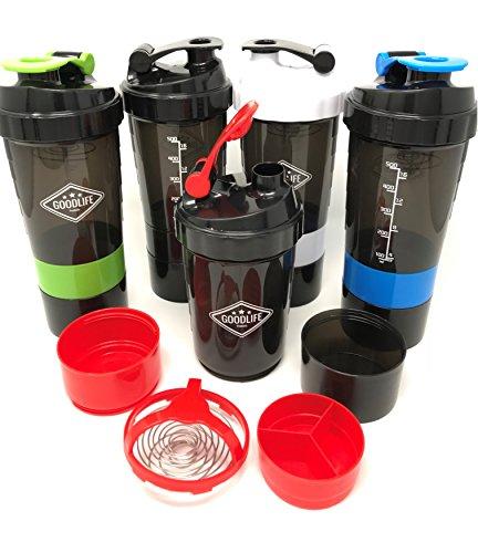 GOODLIFE Products Stackable Protein Shaker Bottle (20oz) BPA Free No Stink Dishwasher Safe Interlocking Storage Compartment Vitamins/Supplements