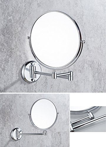 Ysayc Vanity Mirror Double-sided 3x Magnification Wall Mounted Hanging 360° Swivel Bath Spa Hotel Round Bathroom Cosmetic Mirror wall-mounted-mirrors, Silver by Ysayc (Image #2)