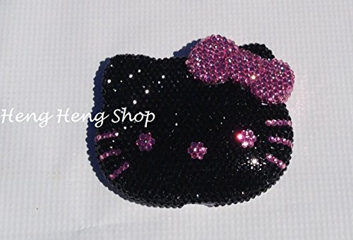 Bling Bling hello kitty compact mirror handmade with high quality crystals ^Black KT pink bow ()