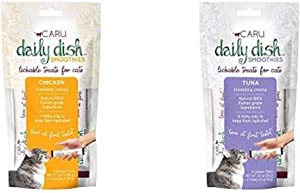 Caru Daily Dish Smoothies Lickable Treats for Cats 8-Pack - Chicken (4) and Tuna (4) Flavor - 100% Natural