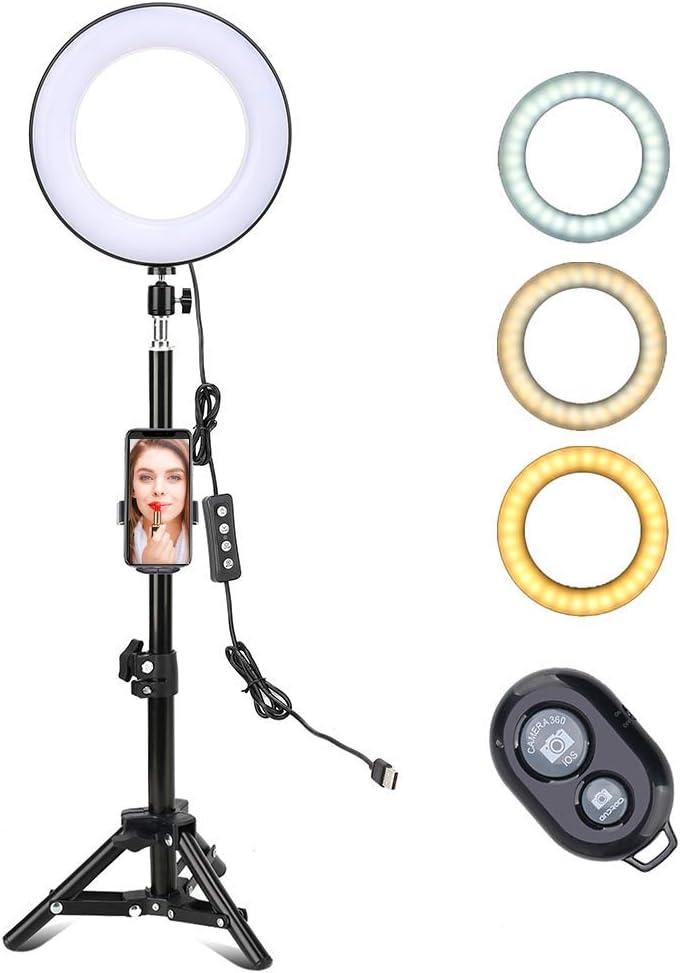 Wghz 8 Zoll Ringlicht Mit Ständer Und Telefonhalter Telefonfernbedienung 3 Farbiges Dimmbares Stehendes Ringlicht Für Tiktok Youtube Vlogging Video Photo Makeup Küche Haushalt