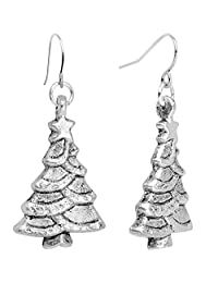 Body Candy Handcrafted Silver Plated Winter Christmas Tree Fishhook Earrings