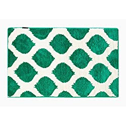 "Fabbrica Home Non-Slip Bath Kitchen Accent Memory Foam Rug Mat, 34"" x 21"" (Smooth Ikat-Emerald)"