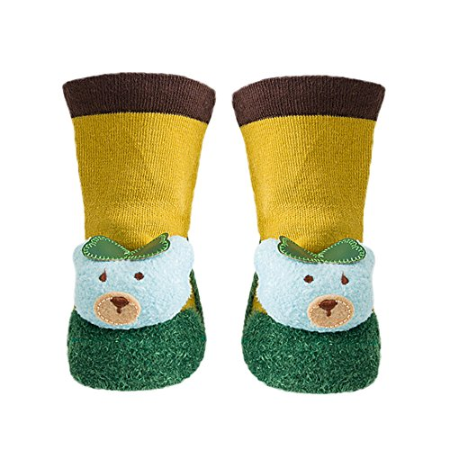 wholesale KingWo Toddler Baby Girls Boys Cotton Socks Shoes with Rubber Soles Cute Indoor Anti-slip Animal Print Slipper Sock big discount