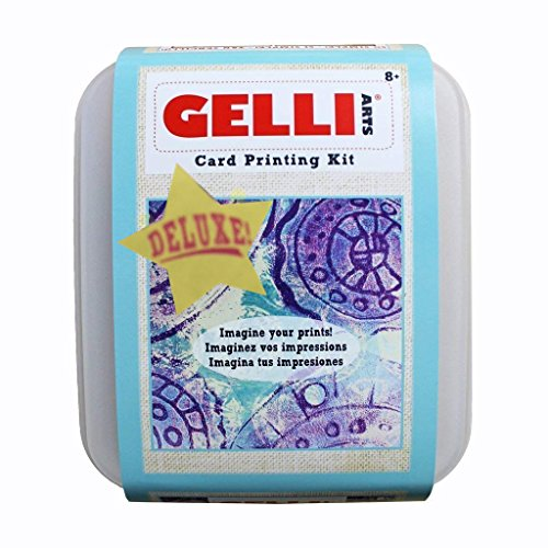 (Gelli Arts Deluxe Card Printing Kit - with More Components! 5 x 5 Gel Printing Plate, Premium Acrylic Paints, Roller, Paper, Storage Container and More!)