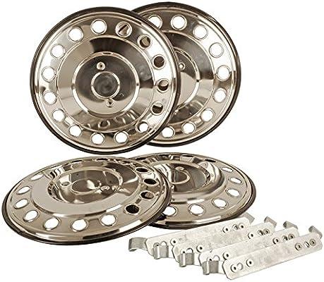 14 pulgadas tapacubos (4 unidades, acero inoxidable fahrzeugspezifisch para einzelbereifte coches o furgonetas y