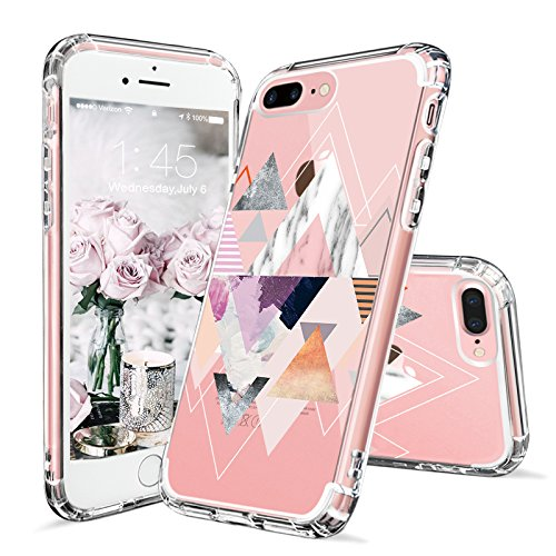 Design Silicone Protective Case - iPhone 8 Plus Case, iPhone 7 Plus Case Clear, MOSNOVO Geomatric Marble Pattern Clear Design Printed Hard Back Case with TPU Bumper Protective Cover for iPhone 7 Plus (2016) / iPhone 8 Plus (2017)