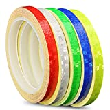 Syiswei Reflective Tape Safety Warning Tapes Warning Sticker Adhesive Tape 1cm26ft (5 ROLL, RGBWY)