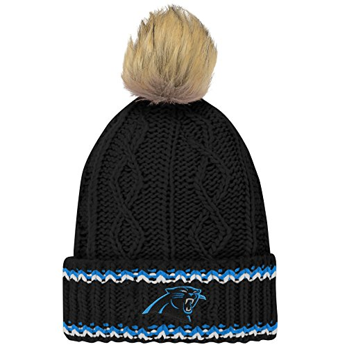 NFL Carolina Panthers Youth Girls Fan-Core Furry Pom Cable Knit Hat Black, Youth Girls One Size ()