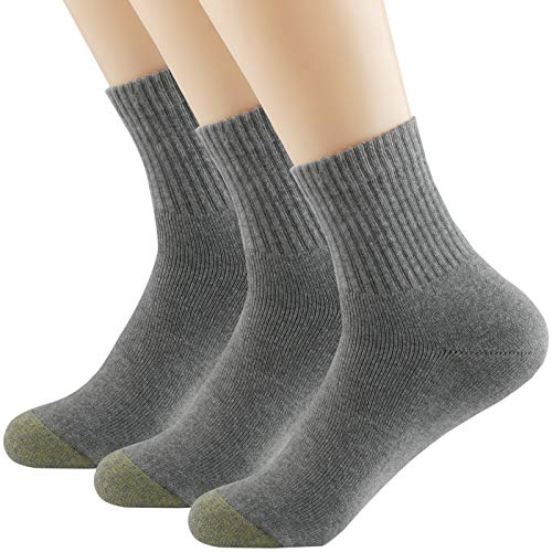 Gray Socks Quarter (Thsbird Mens Blended Knit Comfort Rib Athletic Crew Socks,One Quarter Running Casual Four Seasons Soxs)