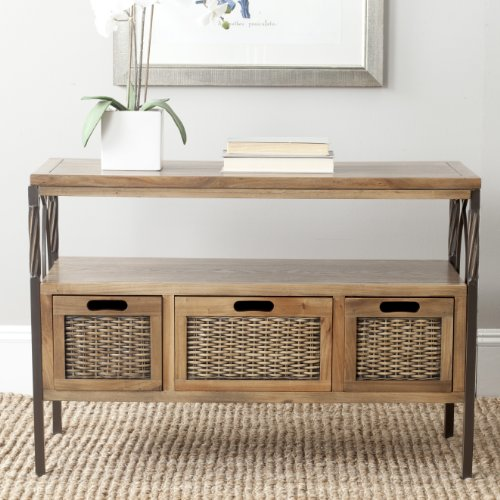 Safavieh American Homes Collection Joshua Antique Pewter and Oak 3-Drawer Console Table
