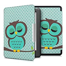 kwmobile Elegant synthetic leather case for the Kobo Glo HD (N437) / Touch 2.0 Design Sleeping owl in turquoise brown mint