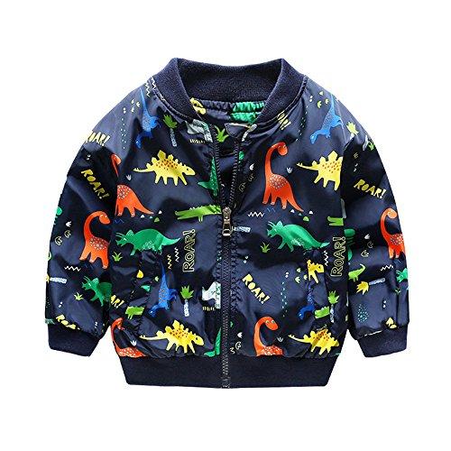 Cute Kids Boys Girls Dinosaur Zipper Outerwear Coat (3T, Blue)
