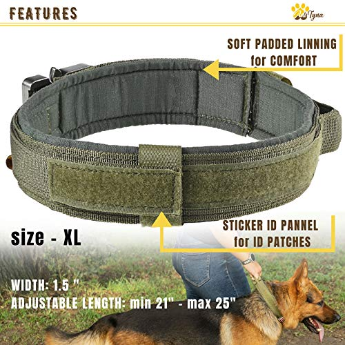ADITYNA Tactical Dog Collar – Military K9 Dog Collar – Adjustable Dog Collar with Handle – Training and Service Dog Collar for German Shepherd