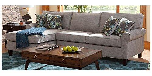 2 Pc Modern Sleeper Sectional Sofa Set In Bella Pewter