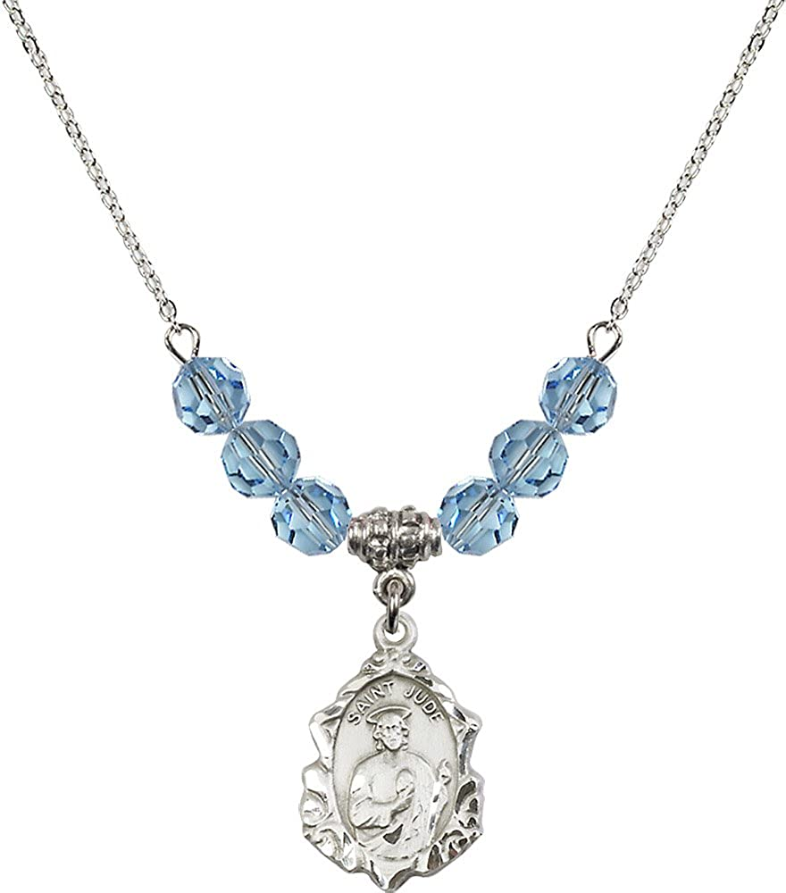 18-Inch Rhodium Plated Necklace with 6mm Aqua Birthstone Beads and Sterling Silver Saint Jude Charm.