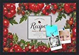 PinPix decorative pin cork bulletin board made from canvas, Recipe Board with Heirloom Tomatoes 24x16 Inches (Completed Size) and framed in Satin Black (PinPix-Group-36)