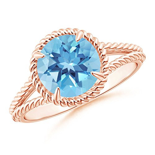 Twisted Shank Ring (Claw-Set Swiss Blue Topaz Twisted Rope Split Shank Ring in 14K Rose Gold (8mm Swiss Blue Topaz))