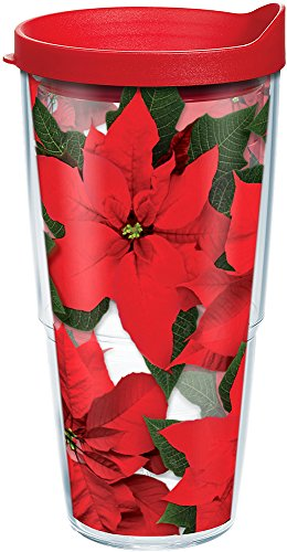 Tervis 1091196 Poinsettia Insulated Tumbler with Lid, 24 oz, Clear