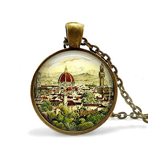 Florence Italy necklace art pendant vintage postcard world travel Santa Maria del Fiore Cathedral.