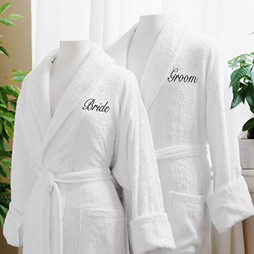Couple's Terry Cloth Bathrobe Egyptian Cotton Unisex One Size Fits Most Luxurious Soft Plush Elegant Script Embroider Perfect Wedding Gift Luxor Linens San Marco (Bride/ Groom) (Elegant Wedding Gift)
