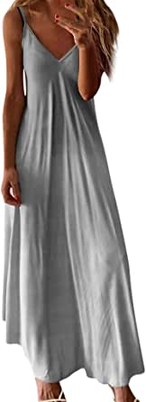Shakumy Women Halter Boho Long Dress Summer Sleeveless Maxi Dress Striped Beach Cami Tank Dress Casual Loose Tunic Dress